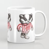 bucky Mugs featuring Bucky Don't Care by Julia Sonmi Heglund