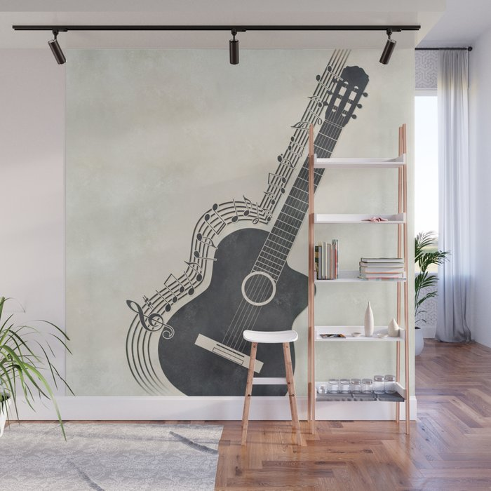 Guitar Wall Mural by afronus Society6
