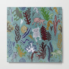 Strange creatures in the seabed. turquoise and pink. Metal Print