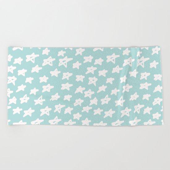 Stars on mint background Beach Towel