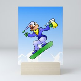 Snowboarding with a beer Mini Art Print