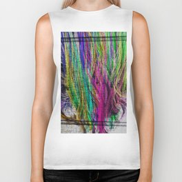 Colorful pink teal watercolor abstract grunge pattern Biker Tank