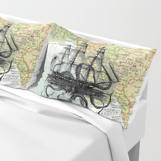 Octopus Attacks Ship on map background by paperrescuedesigns