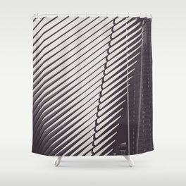 New York City, Oculus, architecture photo, fine art, black & white city, One World Trade Center Shower Curtain