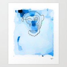 one line blue monkey Art Print