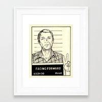 steve mcqueen Framed Art Prints featuring Steve McQueen Mugshot by Tim Clary