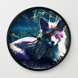 Night Fox Painting Wall Clock
