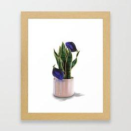 Blue Tang & Snake Plant Framed Art Print