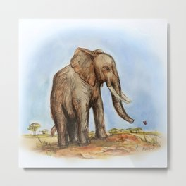 The Majestic African Elephant Metal Print