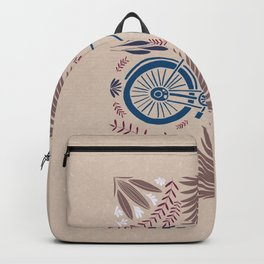 Bike and Flowers // Hand drawn Folk Art // Blue and Red Backpack