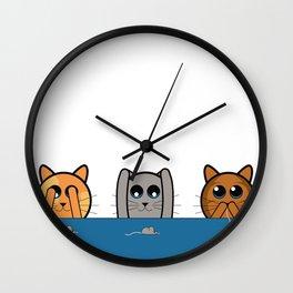 See no evil, Hear no evil, Speak no evil - Cats Wall Clock