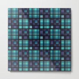 Blue purple colorful checkered pattern . Metal Print