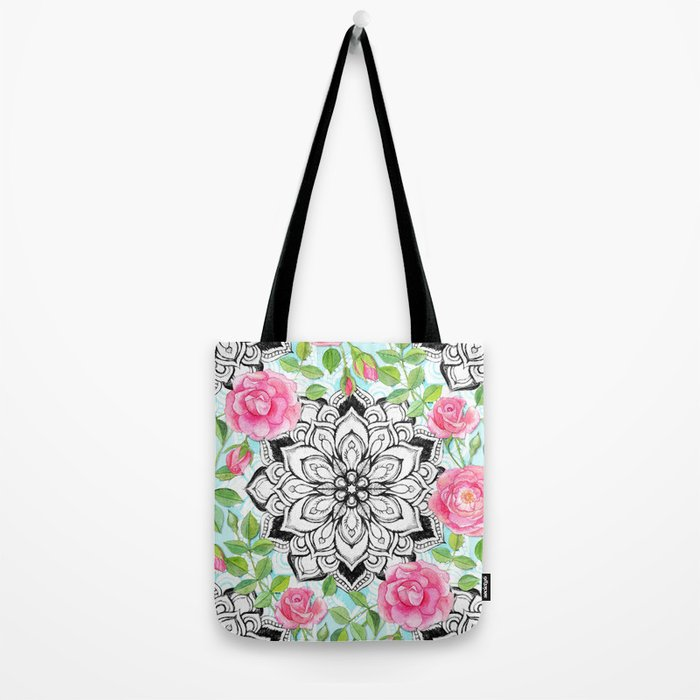 Pink Roses and Mandalas on Sky Blue Lace Tote Bag