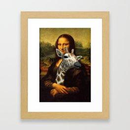 Mona Lisa Loves Giraffes Framed Art Print