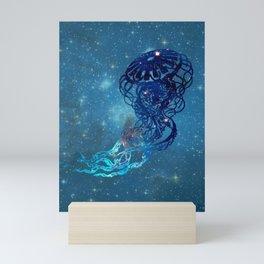Blue Galactic Jelly Fish Mini Art Print