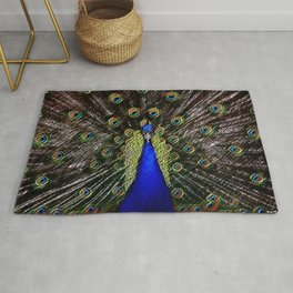 Jeweled Peacock Portrait Painting by Jeanpaul Ferro Rug