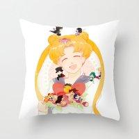 sailor moon Throw Pillows featuring Sailor Moon by cezra