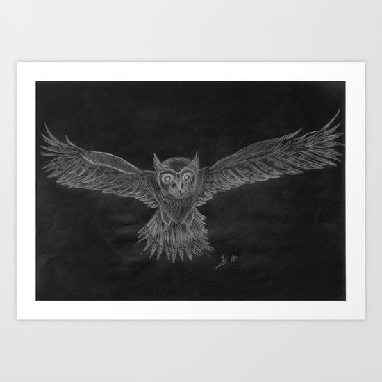 Owl sketch inverted Art Print