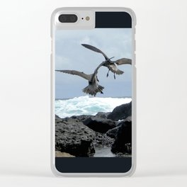 two pelicans above the water Clear iPhone Case