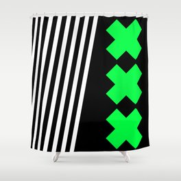 Bold Minimalism 2 (black and neon green) Shower Curtain