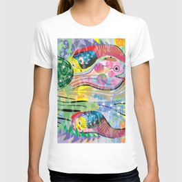 Hippy Fish in Rainbow Glow T-shirt