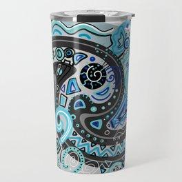 Blue Doodle Black Grey Drawing Line Art Travel Mug