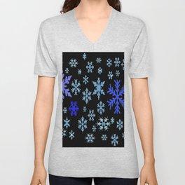 BLUE & PURPLE WINTER  SNOWFLAKES HOLIDAY ON BLACK Unisex V-Neck