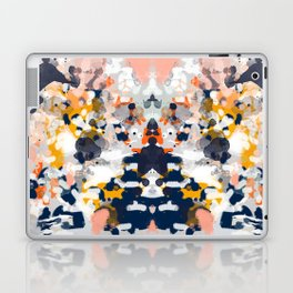 Stella - Abstract painting in modern fresh colors navy, orange, pink, cream, white, and gold Laptop & iPad Skin