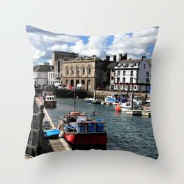 Plymouth Devon Water Paint Throw Pillow