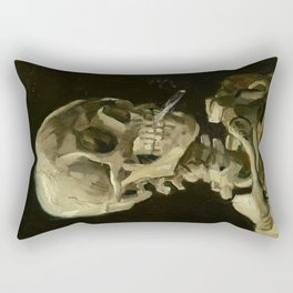 Skull of a Skeleton with Burning Cigarette Painting by Vincent van Gogh Rectangular Pillow