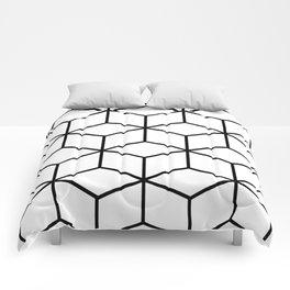 Black and White - Geometric Cube Design I Comforters