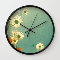 daisy Wall Clocks featuring Daisy by Cassia Beck