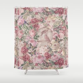 Romantic Flower Pattern And Birdcage Shower Curtain