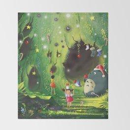 Totoro Christmas Throw Blanket