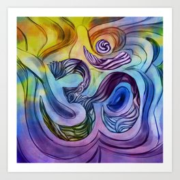 OM symbol Watercolor drawing Art Print