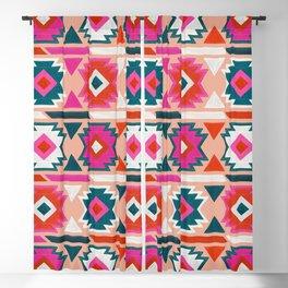 Kilim Abundance Pattern  - Blush & Teal Palette Blackout Curtain