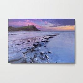 Sunset at Kimmeridge Bay in southern England Metal Print