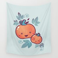 cooking Wall Tapestries featuring Fall Frolic by littleclyde