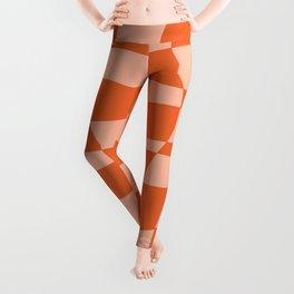 Orange twist checkered retro pattern Leggings