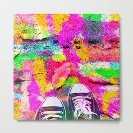 canvas shoes with colorful painting abstract in pink yellow green blue Metal Print