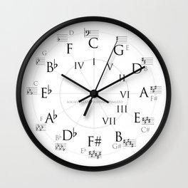Circle of Fifths Wall Clock - Bass Clef Wall Clock