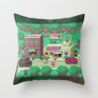 earthbound Throw Pillows featuring Earthbound town by likelikes