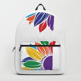 Pride Rainbow Sunflower Straight Against Hate LGBT Backpack