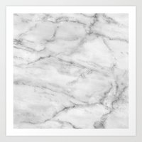 white marble Art Prints featuring Marble by Wallflower DesignCo.