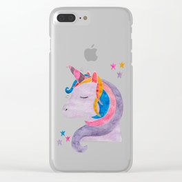 MAGICAL DREAMING UNICORN Clear iPhone Case