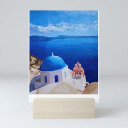Santorini, Greece - View from Oia Retro Poster Mini Art Print
