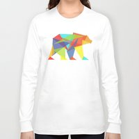 rainbow Long Sleeve T-shirts featuring Fractal Geometric bear by Picomodi