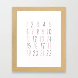 Numbers - Pink Framed Art Print