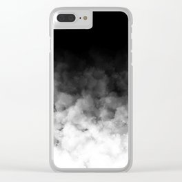 Ombre Black White Clouds Minimal Clear iPhone Case