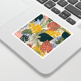 Tropical Leaf Pattern in Mustard, Red and Green Sticker